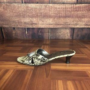 BRIGHTON KAYE Snakeskin Slip On Mule Heel Sandal